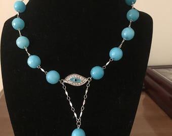blue Aqua Quartzide Necklace by Dobka