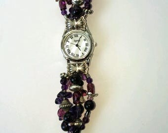 Retro Amethyst watch mother of pearl and silver heart attachments beaded band.