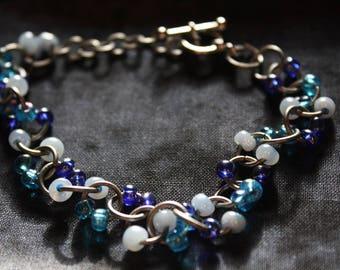 Blue Beaded Metal Bracelet