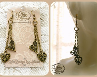 Heart Dangle Earrings - Shabby Chic Jewelry - Romantic Victorian