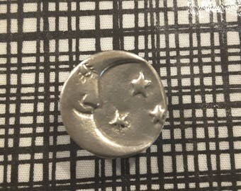 Small silver moon button (arts and craft style.) Early 1900's.