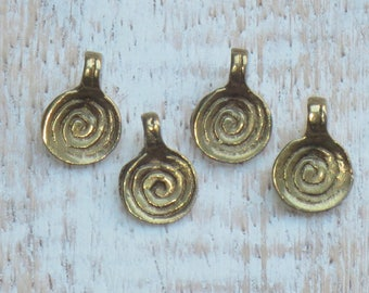 Small Brass Spiral Charms