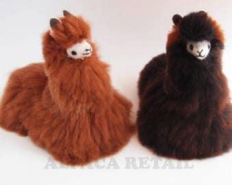 12 IN Handmade Alpaca Stuffed Animal Plush Alpaca  Fur/Llama fur teddy alpaca Standing handmade Peruvian alpaca fur animal toy