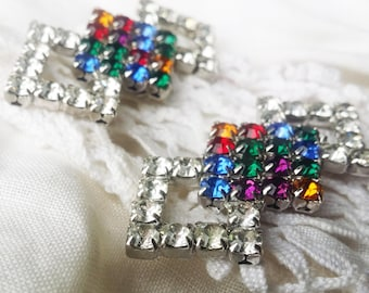 """Dramatic Signed Bluette """"Made in France"""" Vintage Multi Color Crystal Glass Rhinestone Shoe Clips - 1950 -  Pink, Blue, Yellow, Purple, Red"""