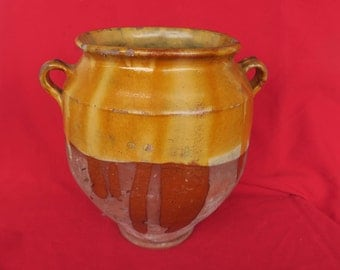 ancien pot à graisse, Sud-Ouest, art populaire fabriqué à Auch,old pot with grease, Southwest,folk art_stor gammel fedtpotte,gelbes Fettglas