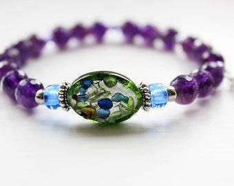 Genuine Purple Amethyst Gemstone Ladies Stretchy Bracelet. Purple Beaded Bracelet for Her.
