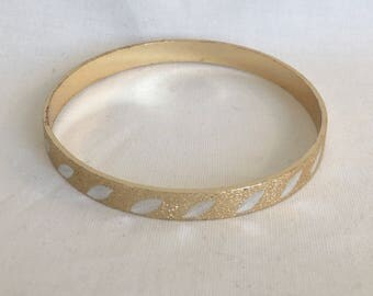 SALE West German Mid-Century Frosted Gold Tone Bracelet With Silver Tone Detail