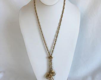 Gold Lariat Necklace, Tassels, Slider, Dangle Balls, Gold Tone, Chain Necklace, Vintage, 1960s