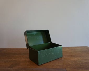 Vintage Metal Recipe Box Military Green Industrial Storage Box