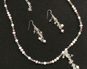 Sterling Silver Pearl & Swarovski Crystal Set