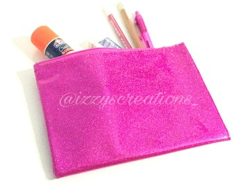 CUSTOM PENCIL POUCH- Girls Glitter Personalized Pencil/Crayon Pouch - Make-Up Bag - Back to School Supply