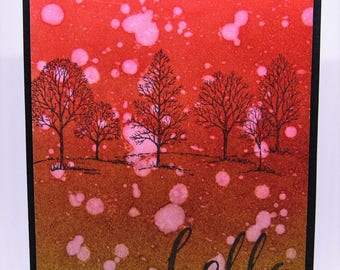 Hello- Red Card,Red Hello,Masculine Card,Masculine Hello,Tree Line Card,Gender Neutral Card,Landscape,Trees,Scenery Card,Handmade,Snow Card