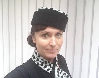 Dalmation print 1940s style fun retro hat and scarf set