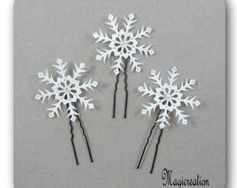 pics à chignon flocons de neige  blancs et argentés petite perle ou grande perle -lot de 3 - bijou cheveux romantique hiver, made in France