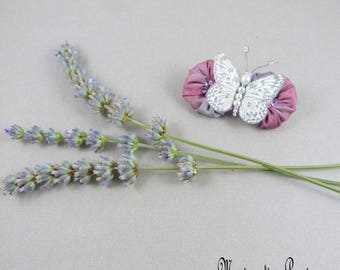 PIN silk trimmed with Lavender Purple and white tie - romantic and spring flowers