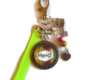 "Keychain bag charm / ""Thanks"" /cadeau/ thank you/party"