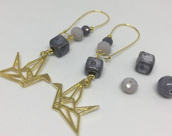 origami earrings Golden grey