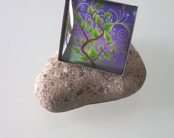 Adjustable square ring Tray 25mm purple/Green