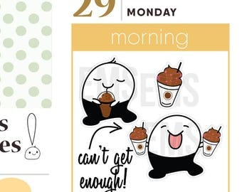 Coffee mocha frappe drinks, planner Stickers, shakes, smoothies, beach For Erin Condren, Plum Paper, Happy, Mambi, or Inkwell Press S27