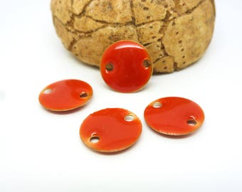 4 sequins round connectors 12mm glazed orange Tangerine (PMSQ08)