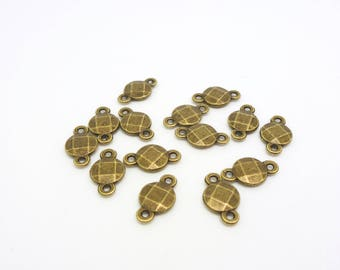 10 small connectors round snap 7 * 12 mm antique bronze (8SCB16)