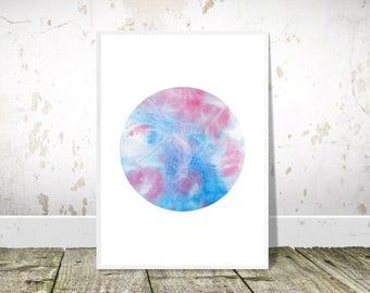Blue and Pink Abstract Painting, Blue Pink Circle, Printable Art, Blue and Pink, Watercolor Print,Abstract Watercolour Print,Modern Wall Art