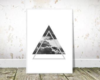 Cloud Art Print, Scandinavian Print, PRINTABLE Art,Minimalist Art,Triangles Print,Black White,Scandinavian Poster,Home Decor,Wall Art,Clouds