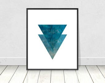 Marble Print, Marble Decor, Printable Art, Marble Wall Art, Scandinavian Art, Geometric Print, Blue Wall Art,Minimalist Poster,Triangles Art