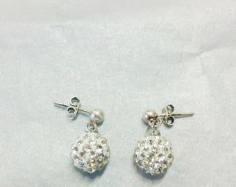 White rhinestone (10 mm) earrings