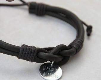 Man or mixed infinity personalized Brown Leather Bracelet