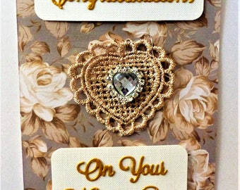Wedding Card handcrafted totally unique lace heart clear gem