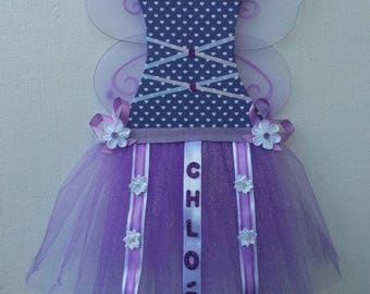 Tutu dress, white and purple door + wings + name plate