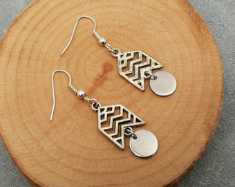 Minimalist geometric charm, earrings ethnic boho, gift for her