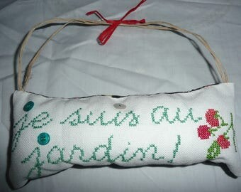 """cushion - hand embroidered pattern cross stitch """" i'm at the garden"""""""