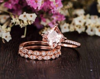 Princess Cut Morganite Ring Set Rose Gold Engagement Ring Art Deco Wedding Band Women Unique Morganite Diamond Kite Antique Anniversary 3pcs