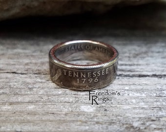 "2002 Tennessee ""Statehood"" Quarter Coin Ring"