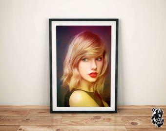 Taylor Swift - Digital Print - Music Poster - A3 - Wall Art - Illustration - Large Wall Art - Colorful - American
