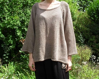 pullover tunic in linen and cotton knit hand-vegan