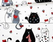 Tissu chats, 100% coton imprimé 50 x 160 cm, chats sur fond blanc
