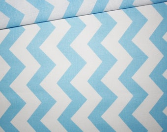 Cotton fabric printed 50 x 160 cm, zigzag, chevron, pastel blue and white