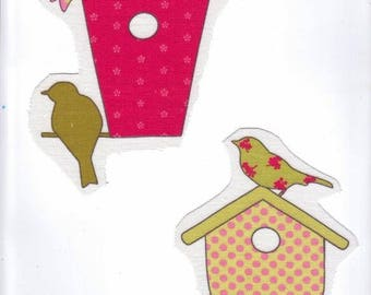 """Applied textile: it's spring """"Cabins and birds 1""""."""