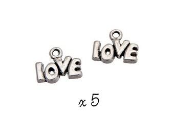 "Word ""LOVE"" Silver charm, set of 5, metal (472) pendant"