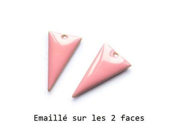 Set of 2 pink enamel Triangles, 22x13mm charm sequin studded with 2 sides