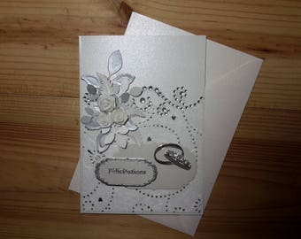 White and silver wedding congratulations card