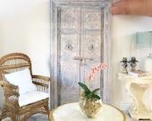 Miniature vintage door art  - french blue distressed wooden doors - faux door - Dollhouse - Roombox - Diorama - 1:12 scale