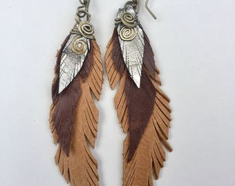 Tan and Silver Leather Feather Earring medium