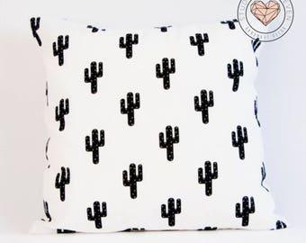 Cactus Plant Cushion Cover, Black and White, Nordic, Modern, Minimalist, Scandinavian, Pillow