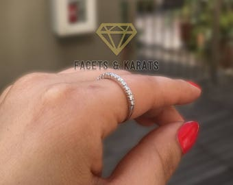 Solid Gold Stacking Ring Diamond Band Index Finger Ring Stackable Ring  Right Hand Rings, Thumb