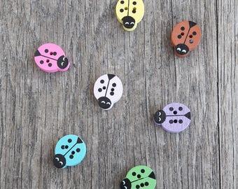 Set of 5 animal ladybug, 18x15mm wood buttons / / ID N27