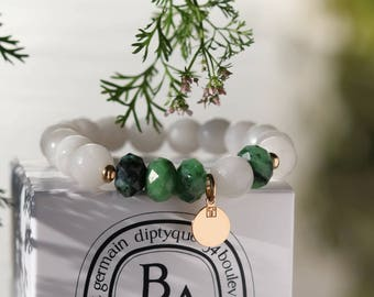 "Women bracelet stone ""Pondicherry"" - jade, zoisite, gold plated - natural gemstone - boho chic - zen - 319."